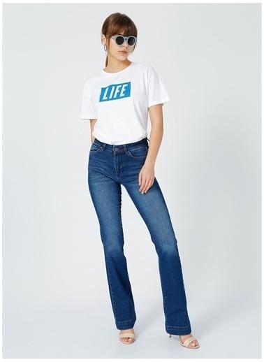 Fabrika Fabrika Kadın Beyaz Bisiklet Yaka T-Shirt Beyaz